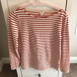 Red and cream stripe crew neck from J.Crew